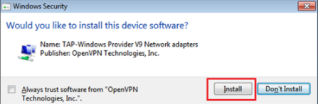 "Confirm the following Windows security window by pressing ""Install"" so the network adapter can be set up."